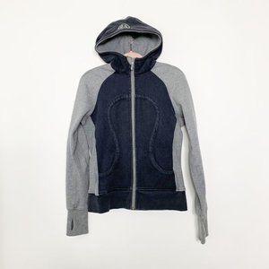 Lululemon Scuba Hoodie Jacket. SZ 8/10. Grey Blck